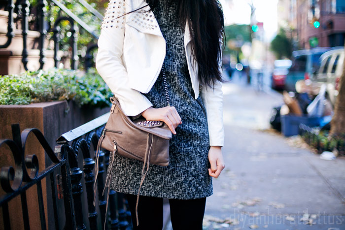 tweed loft shift dress, go jane studded leather jacket, free people oxfords, rebecca minkoff studded shoulder bag, new york city, style fashion blog, diya liu