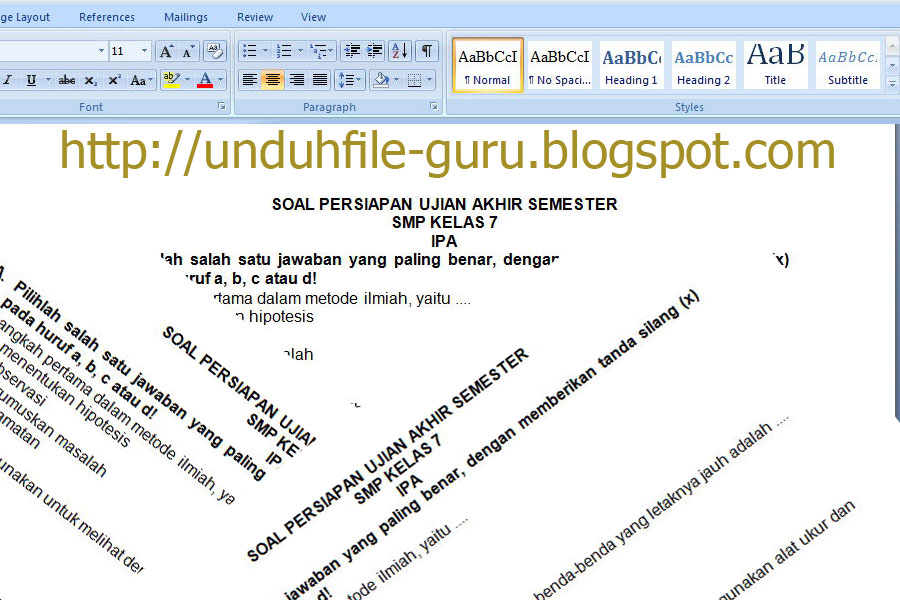 Download File Contoh Soal Uas Ipa Kelas 7 8 9 Smp Dan Kunci Jawaban Terbaru 2015 Revisi Terbaru