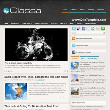 Classa blog template. template image slider blog. magazine blogger template style. magazine style template blogspot