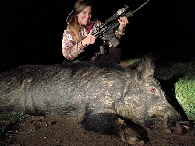 she shot this feral hog with a thermal scope for hog hunting from www.x20.org