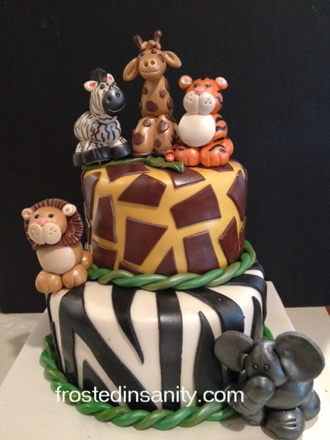 Frosted Insanity Jungle Safari 1st Birthday Cake