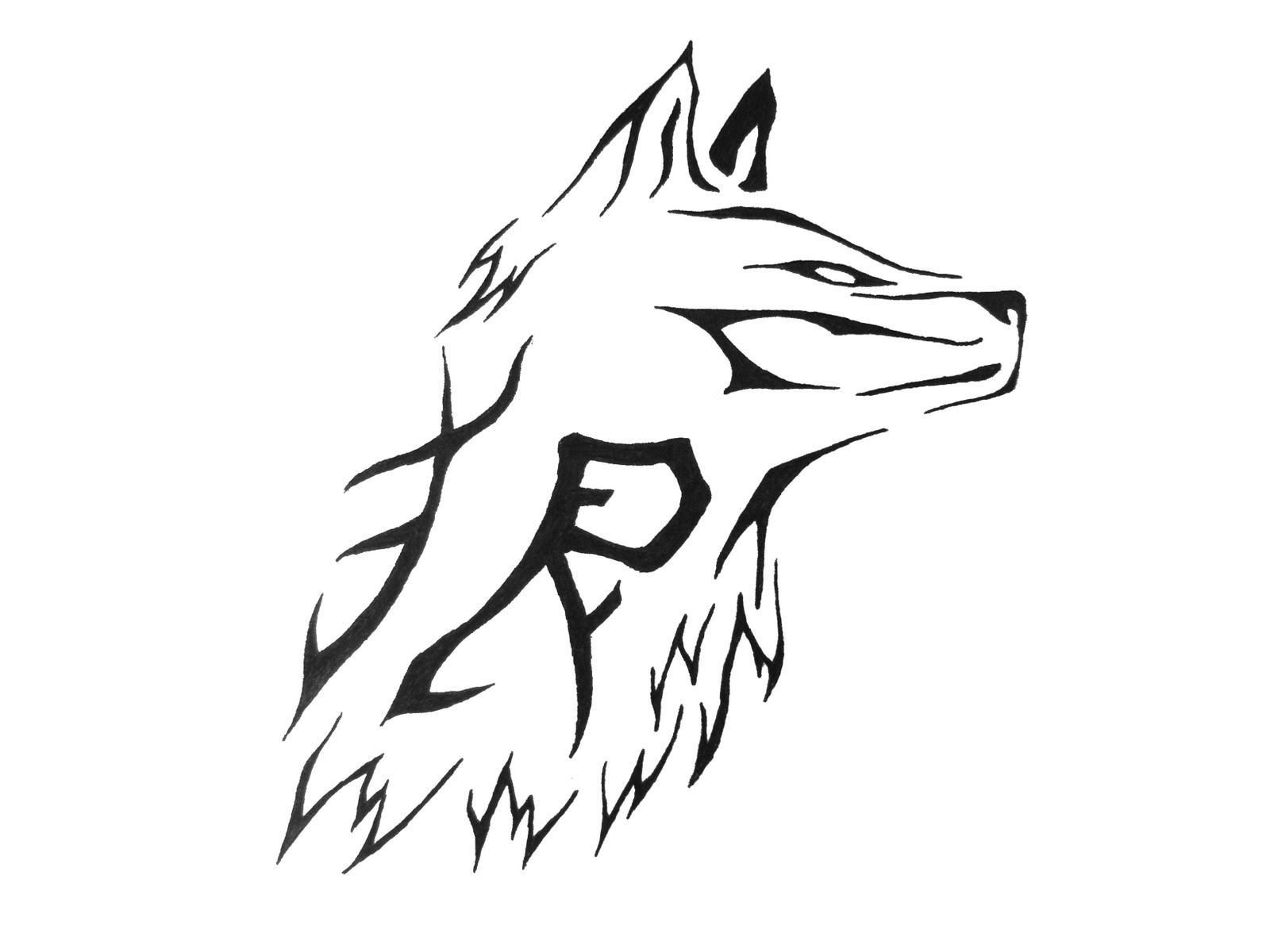 Tattoo Design Wolf Tribal
