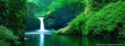 couverture facebook paysage cascade d'eau
