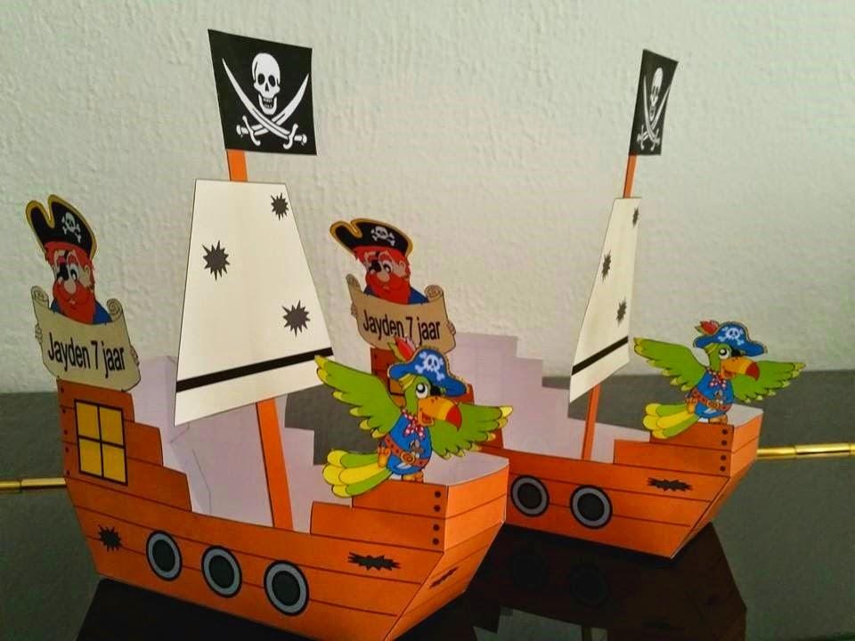 piraat traktatie, piraat knutselen, traktatie knutselen, traktatie zelf printen