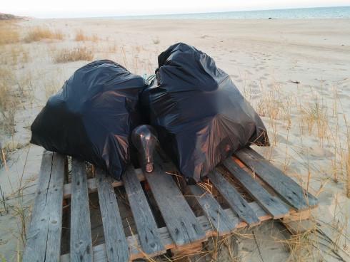 Bolsas de basura en la playa