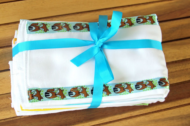 burp cloths from cloth diapers with ribbon added
