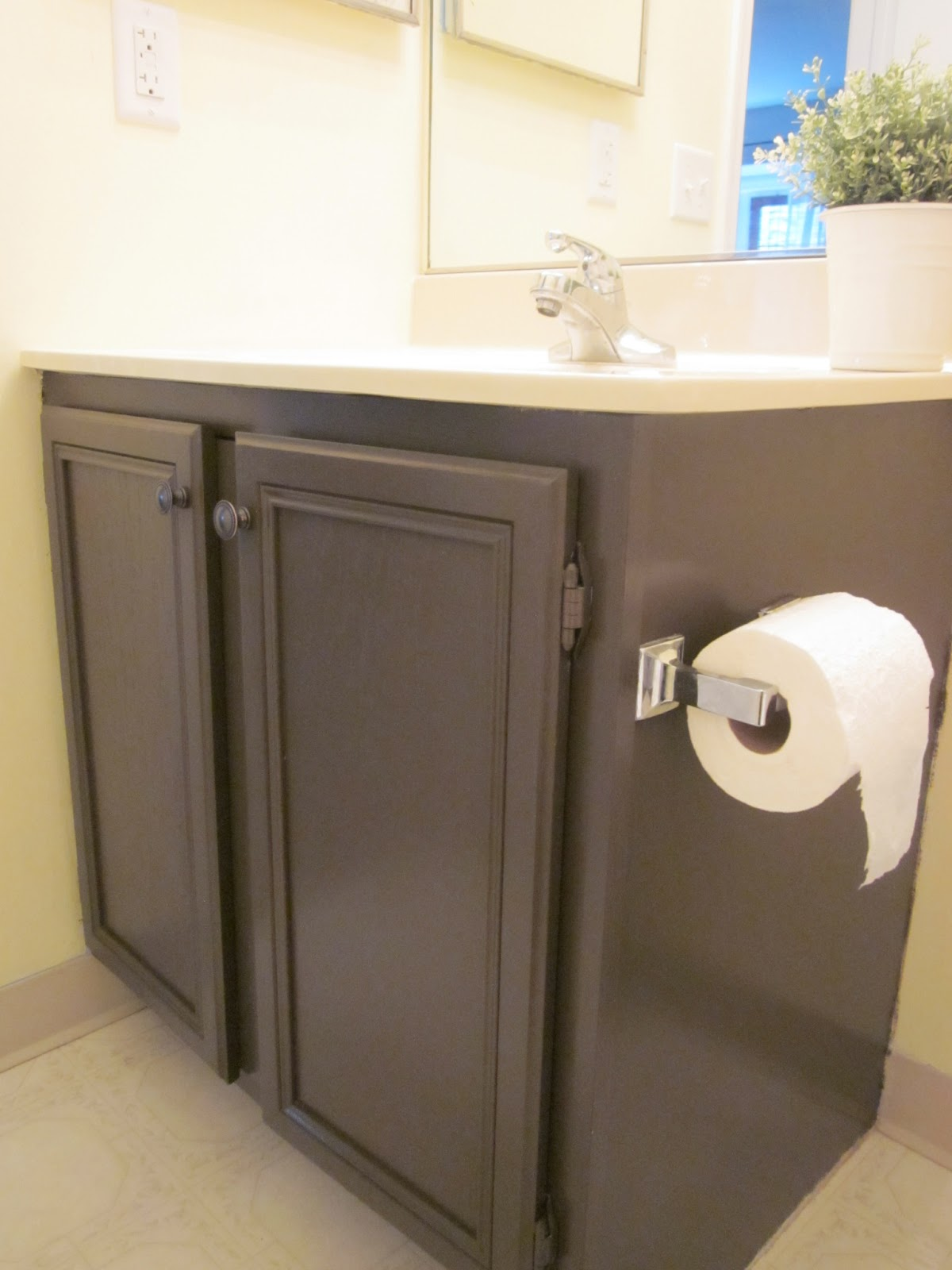 Painting Bathroom Cabinets Dark Brown coffee, caramel & cream: how to paint your bathroom vanity