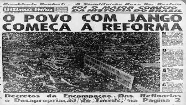 imagem do comício na Central do Brasil no jornal Última Hora