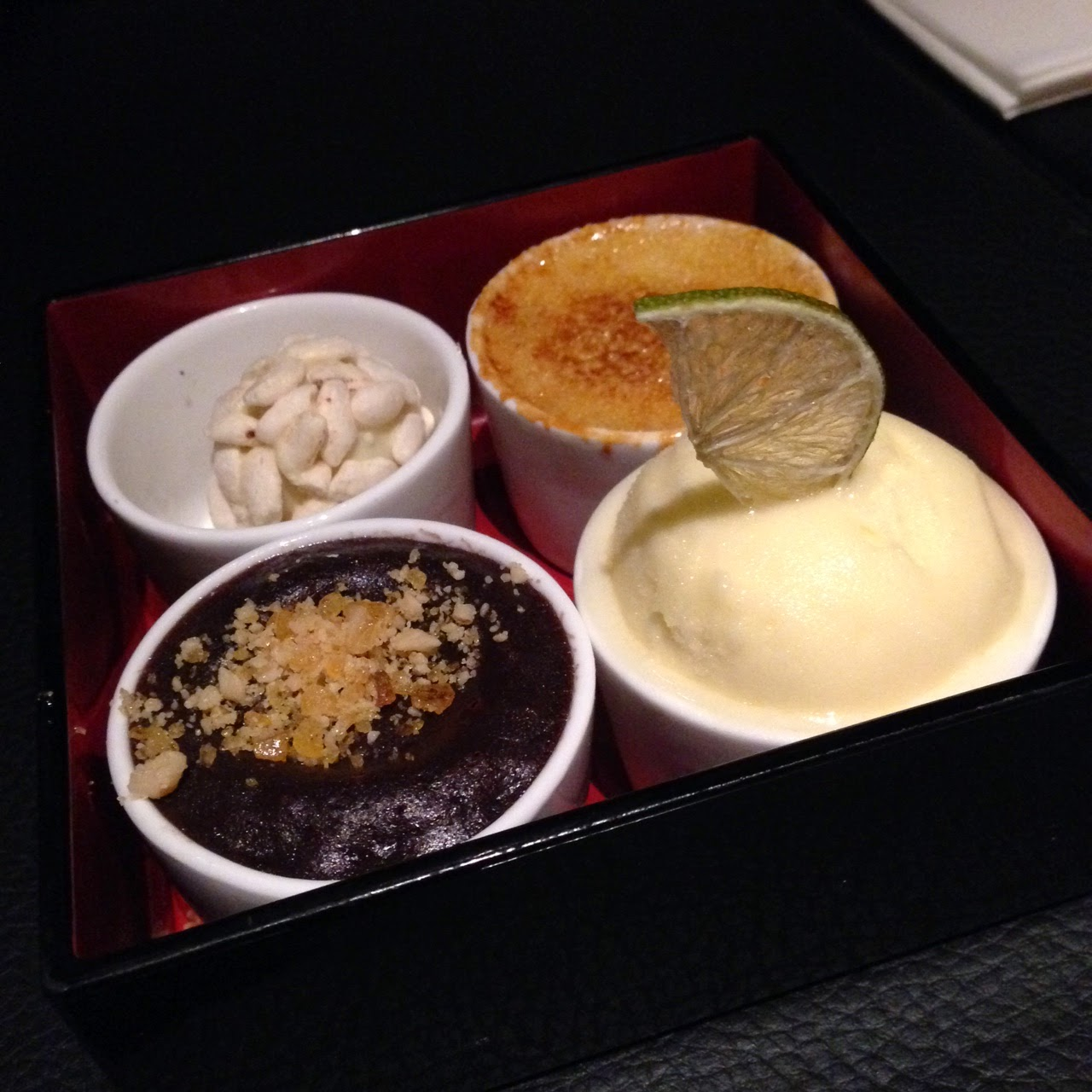 Sharing taster pudding at Sticks'N'Sushi