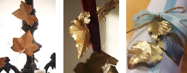 Brug gyldne blade på julens pakker og dekorationer for eksklusivt look