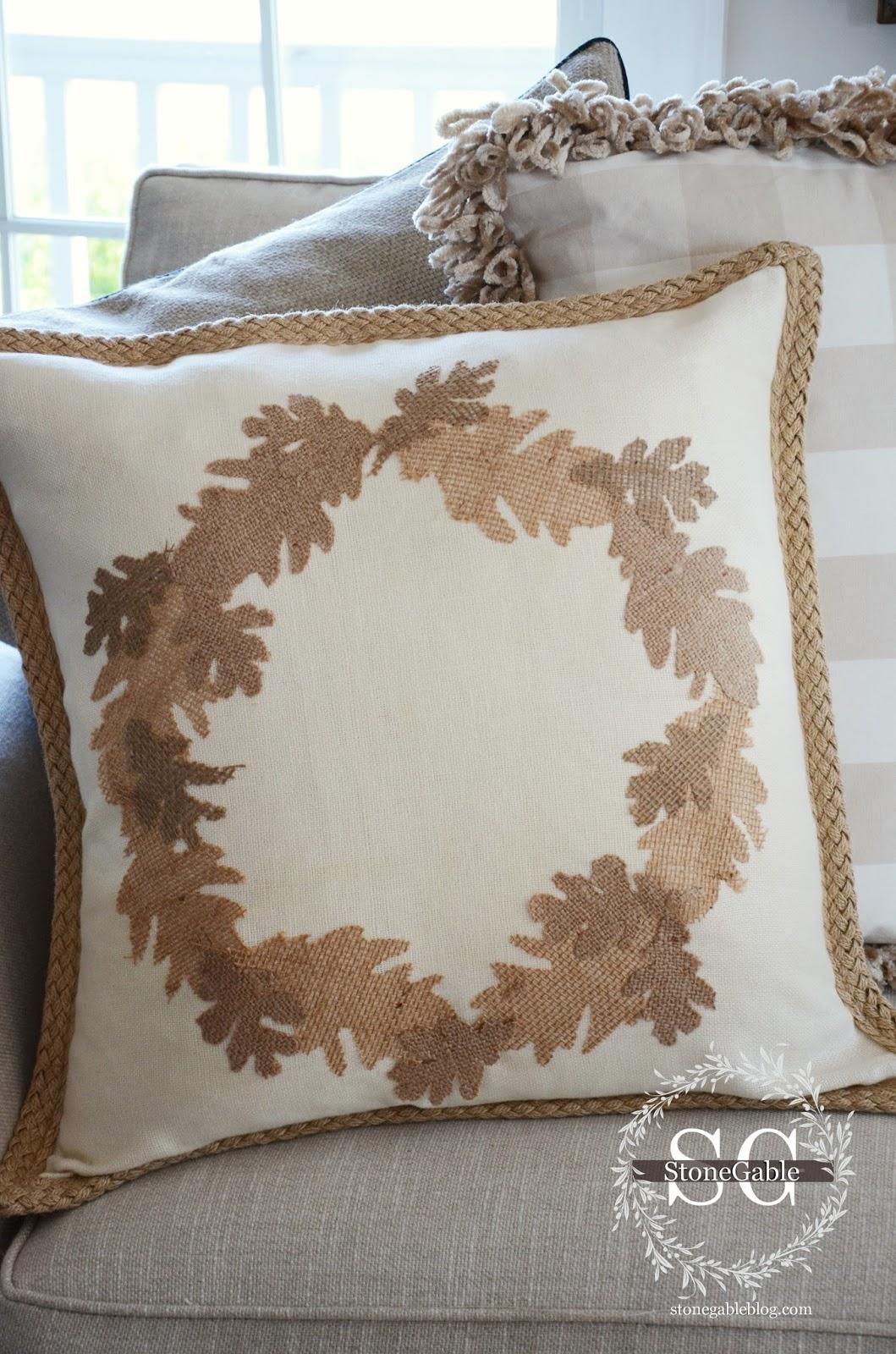 fall no sew burlap leaf pillow diy stonegable. Black Bedroom Furniture Sets. Home Design Ideas