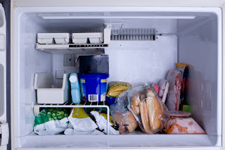 freezer with packaged foods