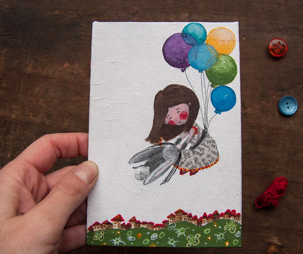 The little girl and bunny flying. Original cute acrylic illustration handpainting on canvas board OOAK  Folk art by Barbara Bisarello on CoCodeStudio