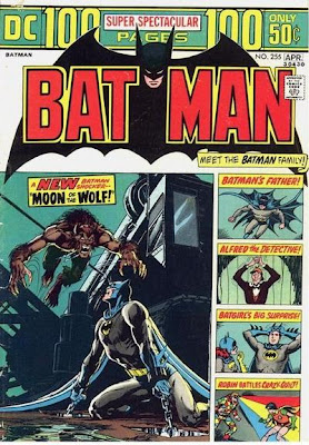 Batman #255, Moon of the Wolf, a werewolf leaps at Batman who is chained in a building site, Neal Adams art