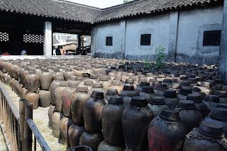 Fermentation jars at sanbai distillery in Wuzhen