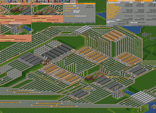 A complicated railroad system in Open Transport Tycoon Deluxe
