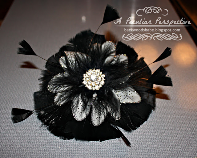 black feather rhinestone fascinator