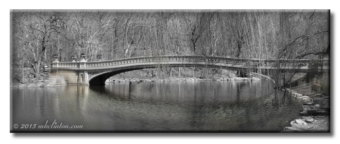 New York City's Central Park Bow Bridge in B & W