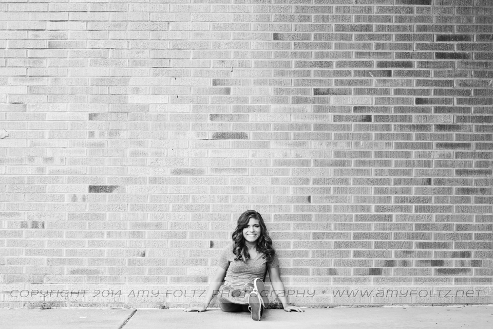 black and white senior photo - Terre Haute photographer