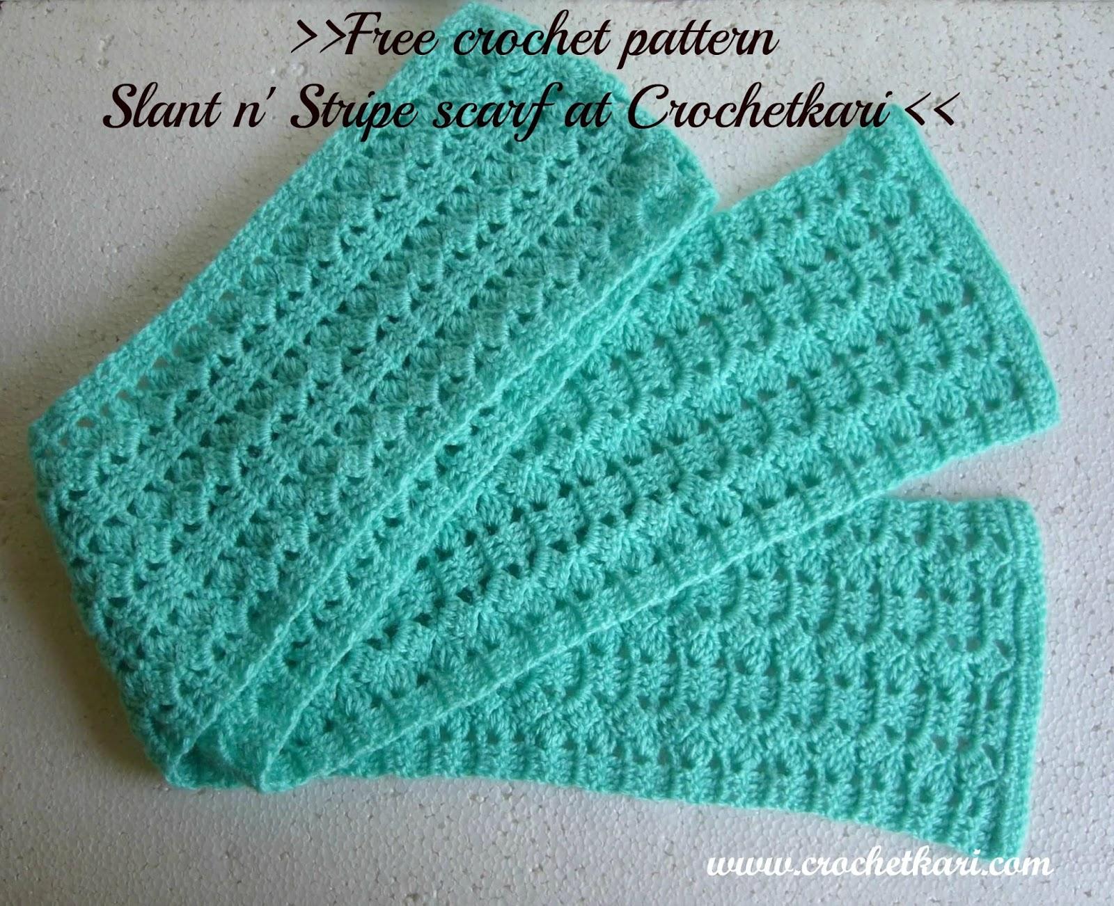 Crochetkari: Free Crochet Pattern - Slant n Stripe Scarf