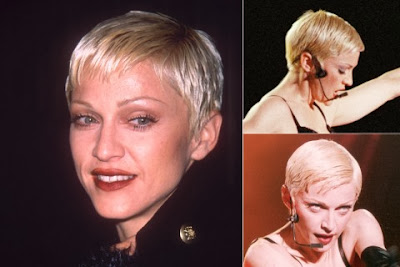 Madonna short haircut with bangs