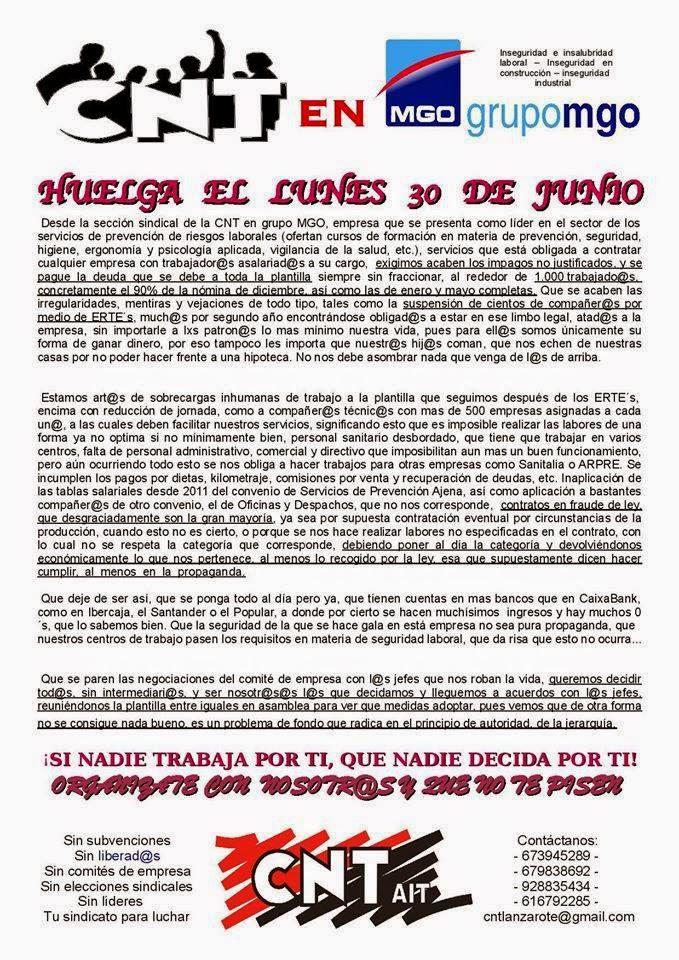 CNT AIT Lanzarote, Canarias  Empezamos en Lanzarote con un conflicto estos días con esta empresa, grupo MGO, empresa que se presenta como líder en el sector de los servicios de prevención de riesgos laborales (ofertan cursos de formación en materia de prevención, seguridad, higiene, ergonomía y psicología aplicada, vigilancia de la salud, etc,los anarquistas,frases anarquistas,los anarquistas,anarquista,anarquismo, frases de anarquistas,anarquia,la anarquista,el anarquista,a anarquista,anarquismo, anarquista que es,anarquistas,el anarquismo,socialismo,el anarquismo,o anarquismo,greek anarchists,anarchist, anarchists cookbook,cookbook, the anarchists,anarchist,the anarchists,sons anarchy,sons of anarchy, sons,anarchy online,son of anarchy,sailing,sailing anarchy,anarchy in uk,   anarchy uk,anarchy song,anarchy reigns,anarchist,anarchism definition,what is anarchism, goldman anarchism,cookbook,anarchists cook book, anarchism,the anarchist cookbook,anarchist a,definition anarchist, teenage anarchist,against me anarchist,baby anarchist,im anarchist, baby im anarchist, die anarchisten,frau des anarchisten,kochbuch anarchisten, les anarchistes,leo ferre,anarchiste,les anarchistes ferre,les anarchistes ferre, paroles les anarchistes,léo ferré,ferré anarchistes,ferré les anarchistes,léo ferré,  anarchia,anarchici italiani,gli anarchici,canti anarchici,comunisti, comunisti anarchici,anarchici torino,canti anarchici,gli anarchici,communism socialism,communism,definition socialism, what is socialism,socialist,socialism and communism,CNT,CNT, Confederación Nacional del Trabajo, AIT, La Asociación Internacional de los Trabajadores, IWA,International Workers Association,FAU,Freie Arbeiterinnen und Arbeiter-Union,FORA,F.O.R.A,Federación Obrera Regional Argentina,COB,Confederação Operária Brasileira ,Priama Akcia,CNT,Confédération Nationale du Travail,USI,Unione Sindacale Italiana,  NSF iAA,Norsk Syndikalistisk Forbund,ZSP,Zwiazek Syndykalistów Polski,AIT-SP,AIT Secção Portuguesa,s