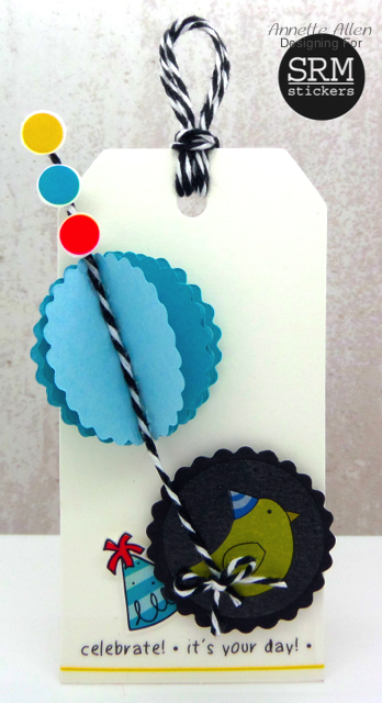 SRM Stickers Blog - Birthday Tag by Annette - #birthday #tag #stickers #twine #punched pieces