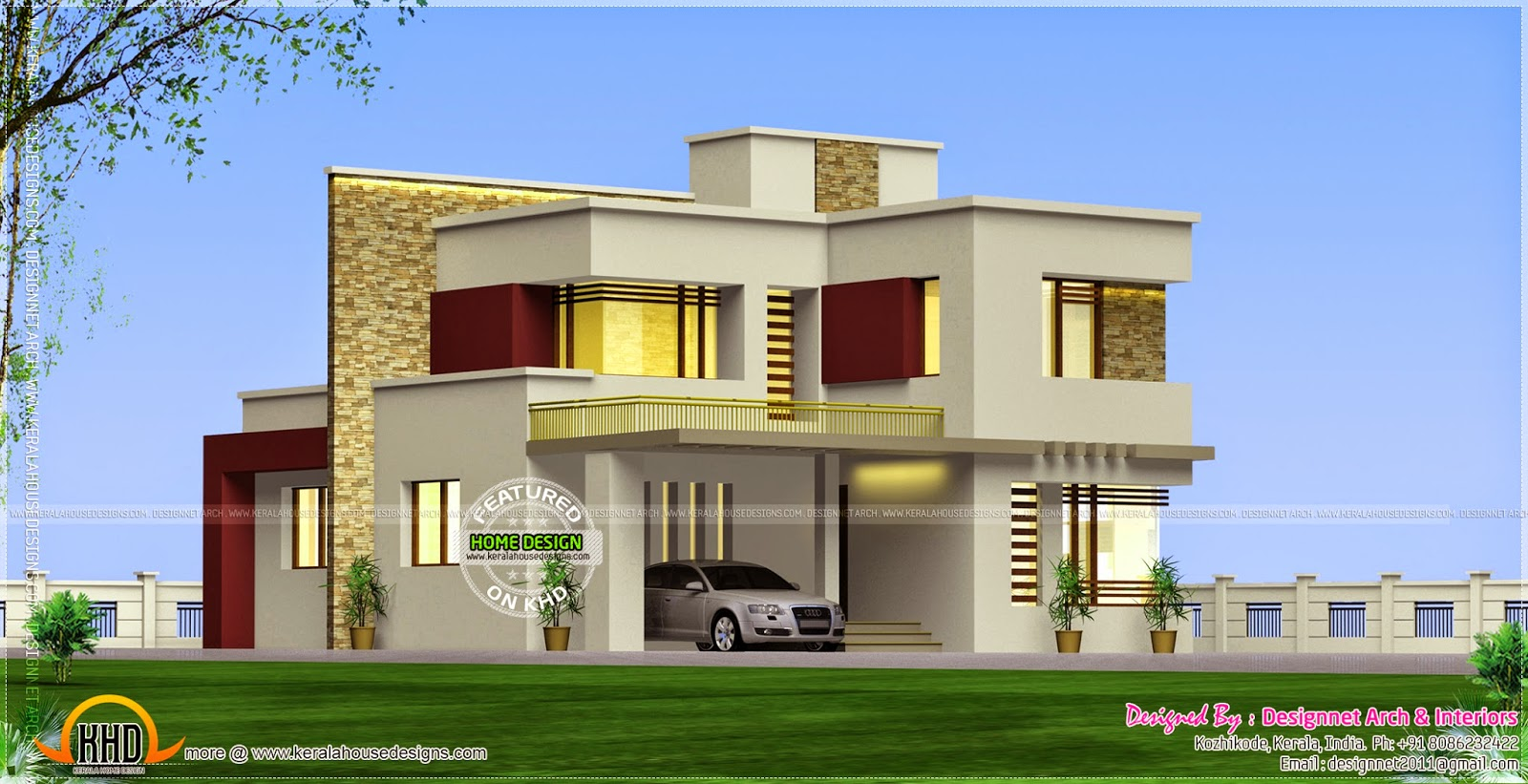 Flat roof beautiful villa kerala home design and floor plans for Beautiful villas images