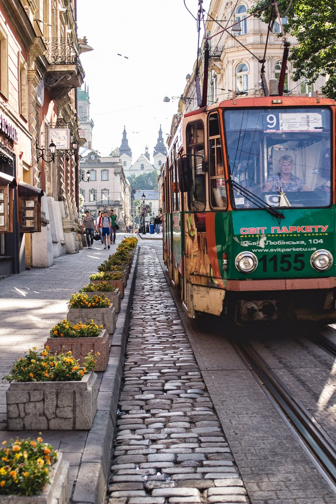 Lviv in the summer Ukraine tram