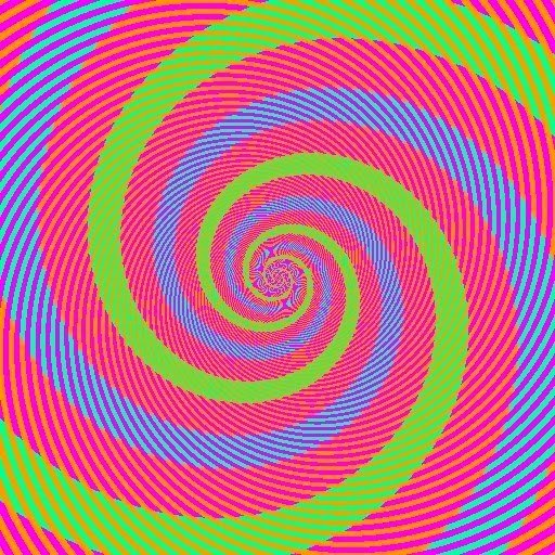 blue and green spirals optical illusion