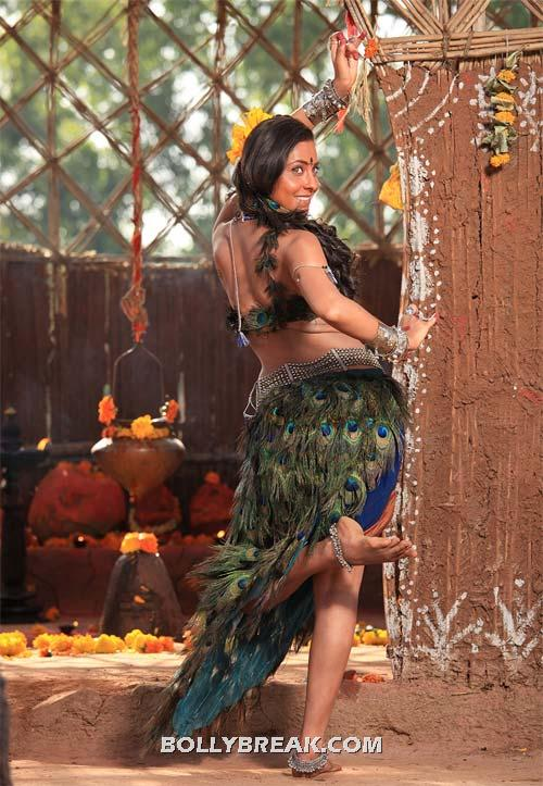 Sonalee Kulkarni Peacock Dress - Marathi Heroine Sonalee Kulkarni Ajintha Movie Hot Backless Pics