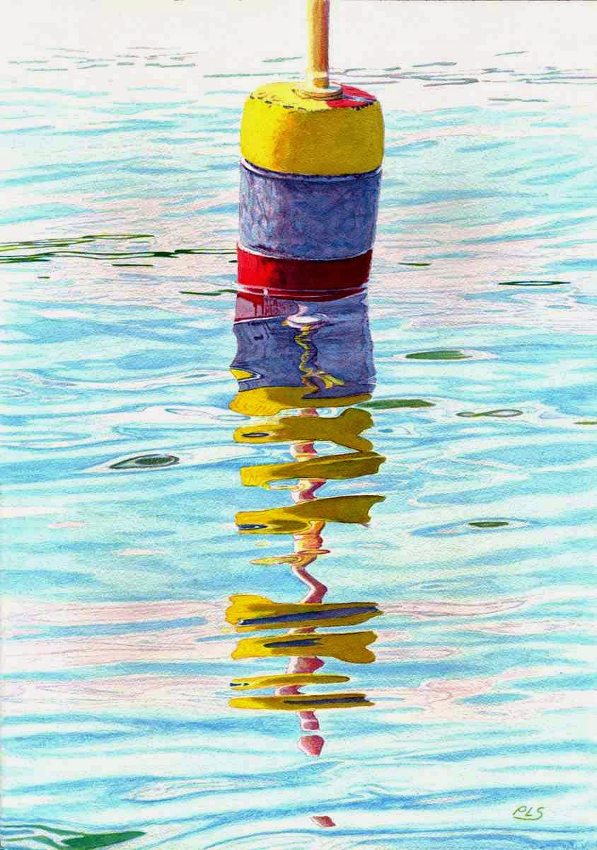 "Buoy Fractal - Watercolor 14"" x 20"""
