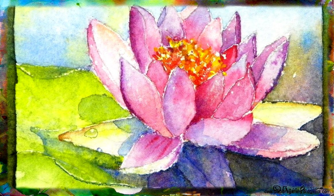 How to Paint the Waterlily with Lotus Flower Miniature Watercolor