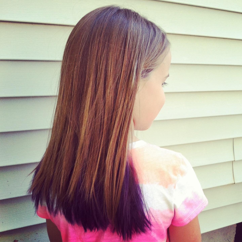 purple underneath light brown hair