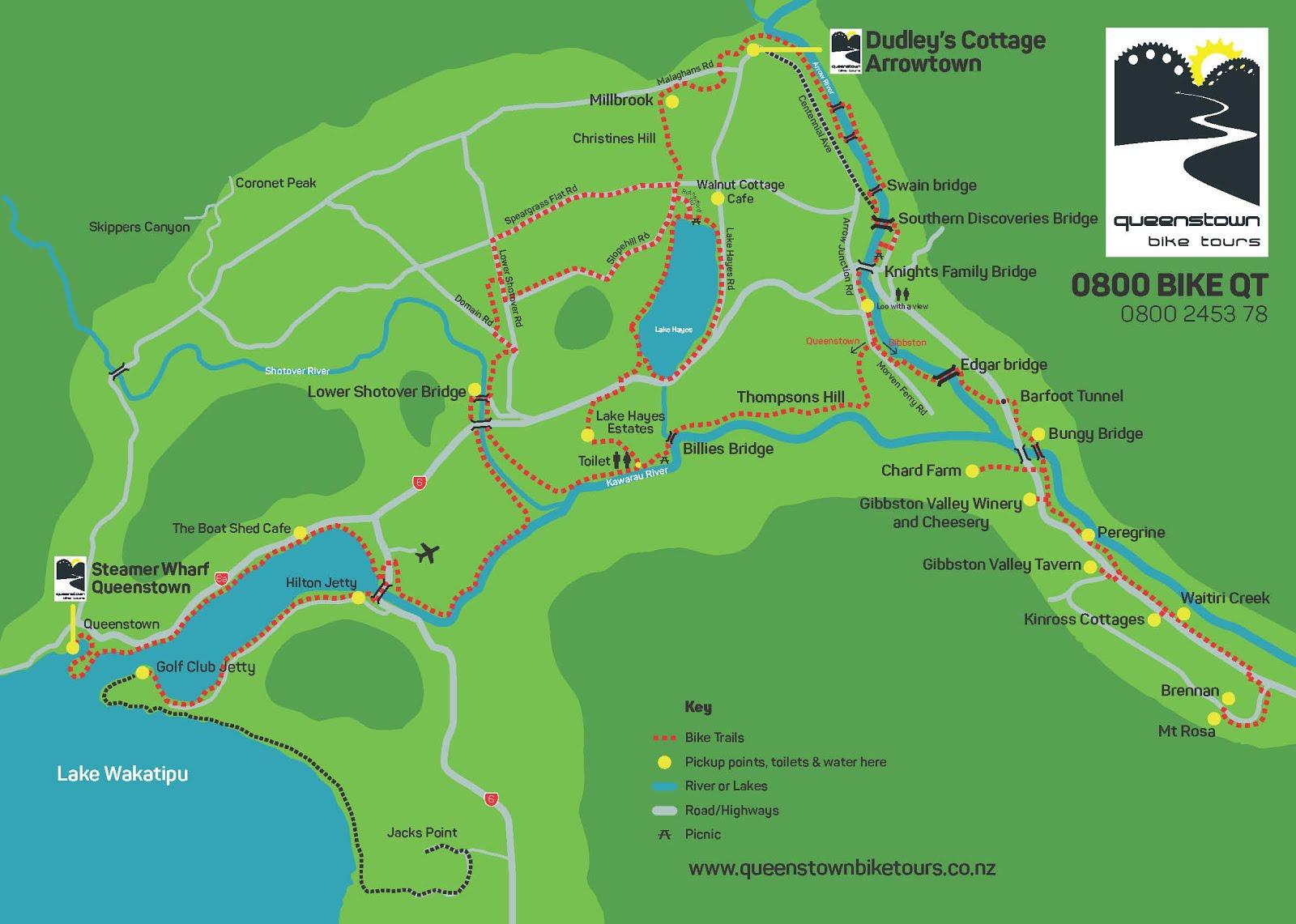 map from queenstown bike tours website