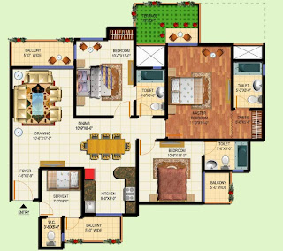 Amrapali Terrace Homes :: Floor Plans 4 BHK + 4T + Servant + Terrace