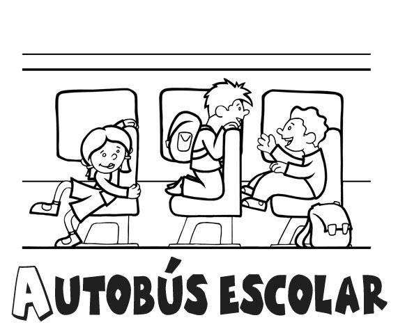 Niños dentro de Autobus escolar ~ 4 Dibujo