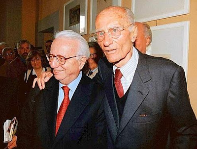 Italian journalists Enzo Biagi and Indro Montanelli