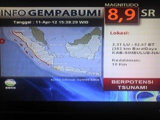 Potensi Tsunami Gempa Aceh 11 April 2012   Dampak Gempa Aceh 11 April 2012