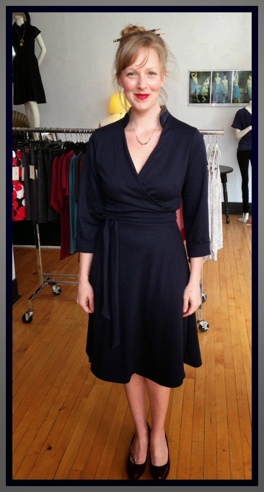 Mona wrap dress by Sarah Bibb and Amy Olson necklace at Folly