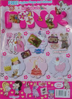 Pink Magazine covered in stickers.