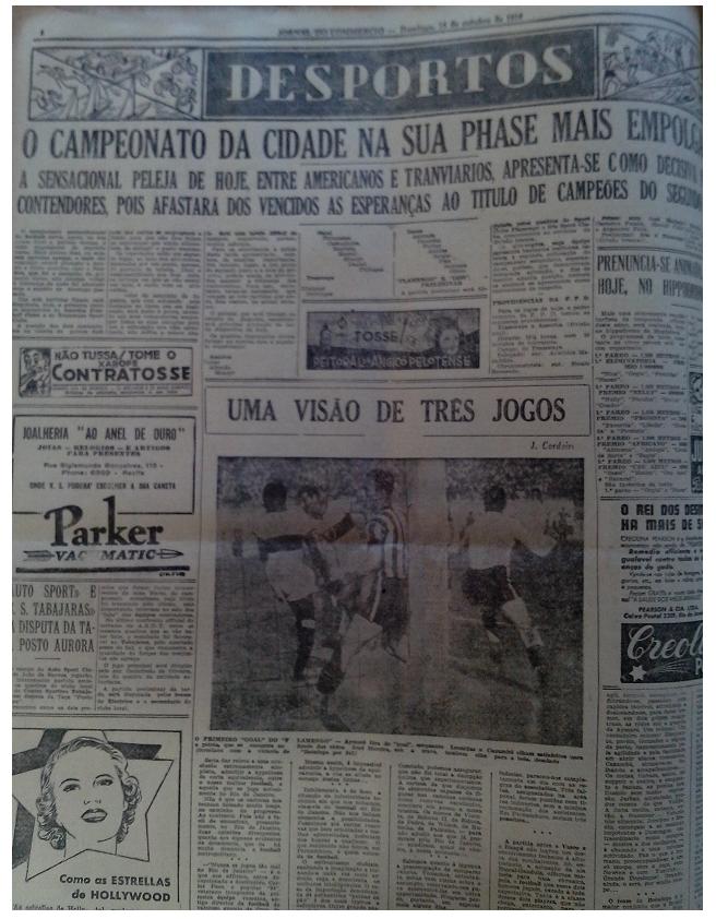 MEMÓRIAS ESMERALDINAS: América 7x2 Tramways em outubro de 1939