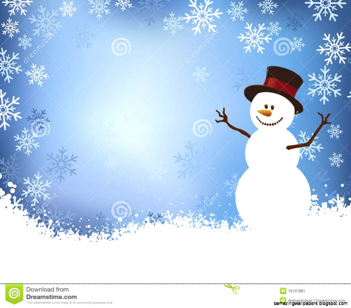 Snowman On Blue Winter Scene Background Stock Image   Image 16107881