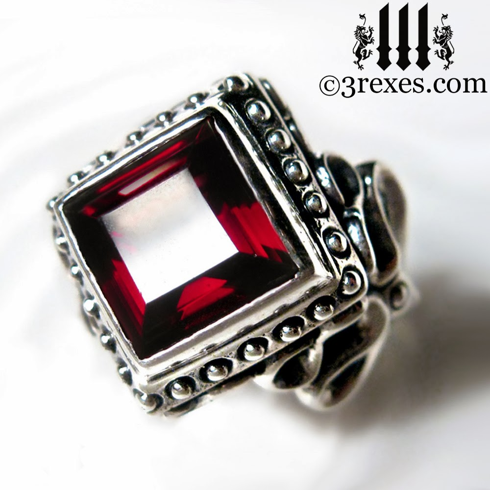 Raven Love Gothic Enagement Ring With Red Garnet