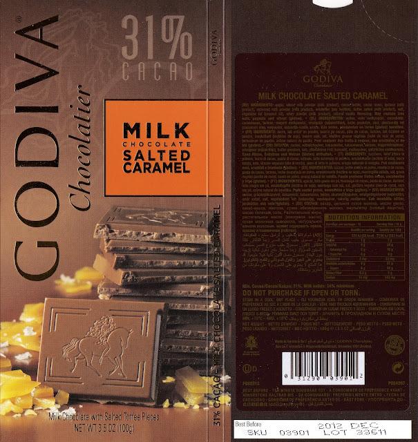 tablette de chocolat lait gourmand godiva lait caramel salé