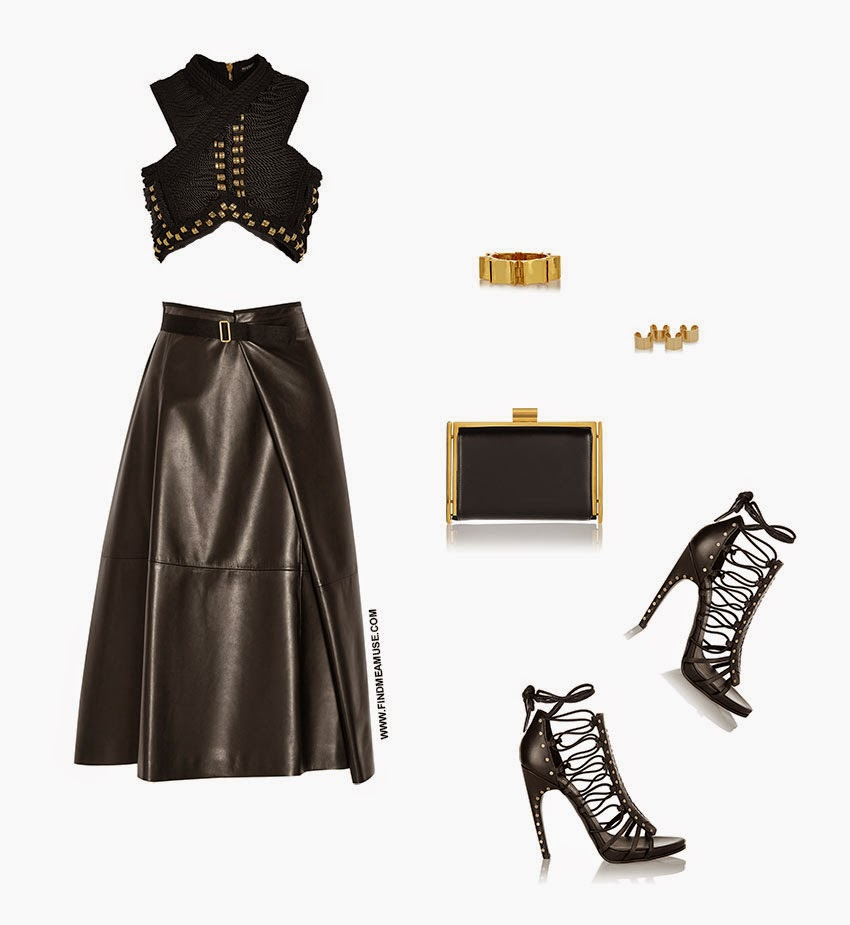 Mandi of Find Me A Muse fashion blog outfit set with Balmain braided cropped top The Row leather skirt Lele Sadoughi gold cuff bracelet Maison Martin Margiela four set of gold rings Nina Ricci black and gold clutch and Emilio Pucci braided laced sandals heels with gold detail