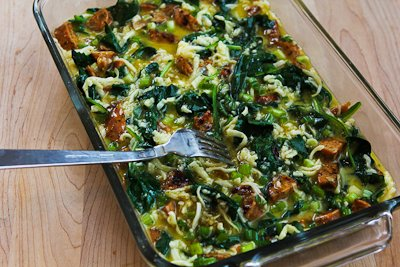 Chicken-Garlic Sausage, Kale, and Mozzarella Egg Bake ...