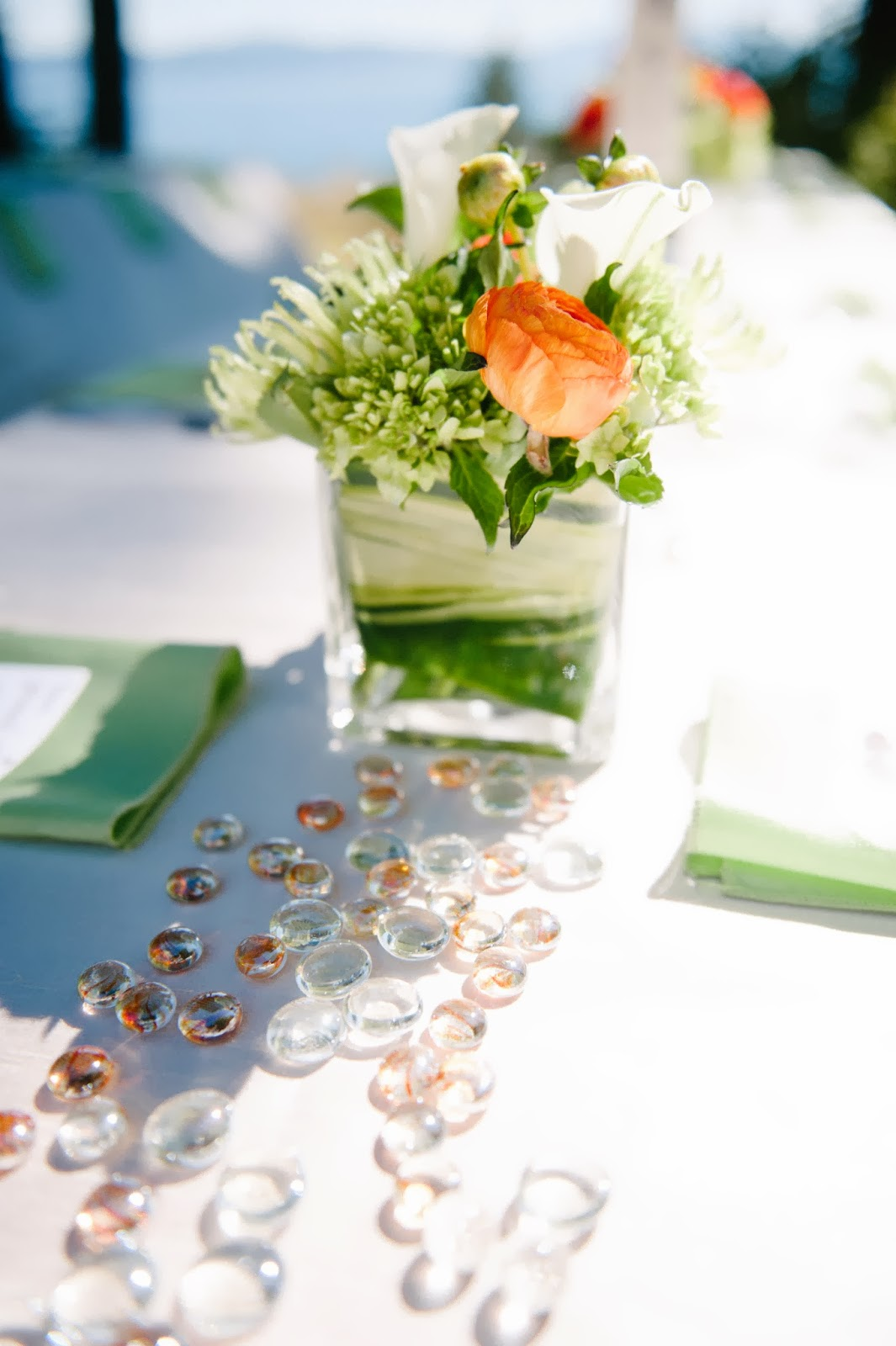 Sage and orange fall wedding centerpiece // Acres of Hope Photography // Take the Cake Event Planning