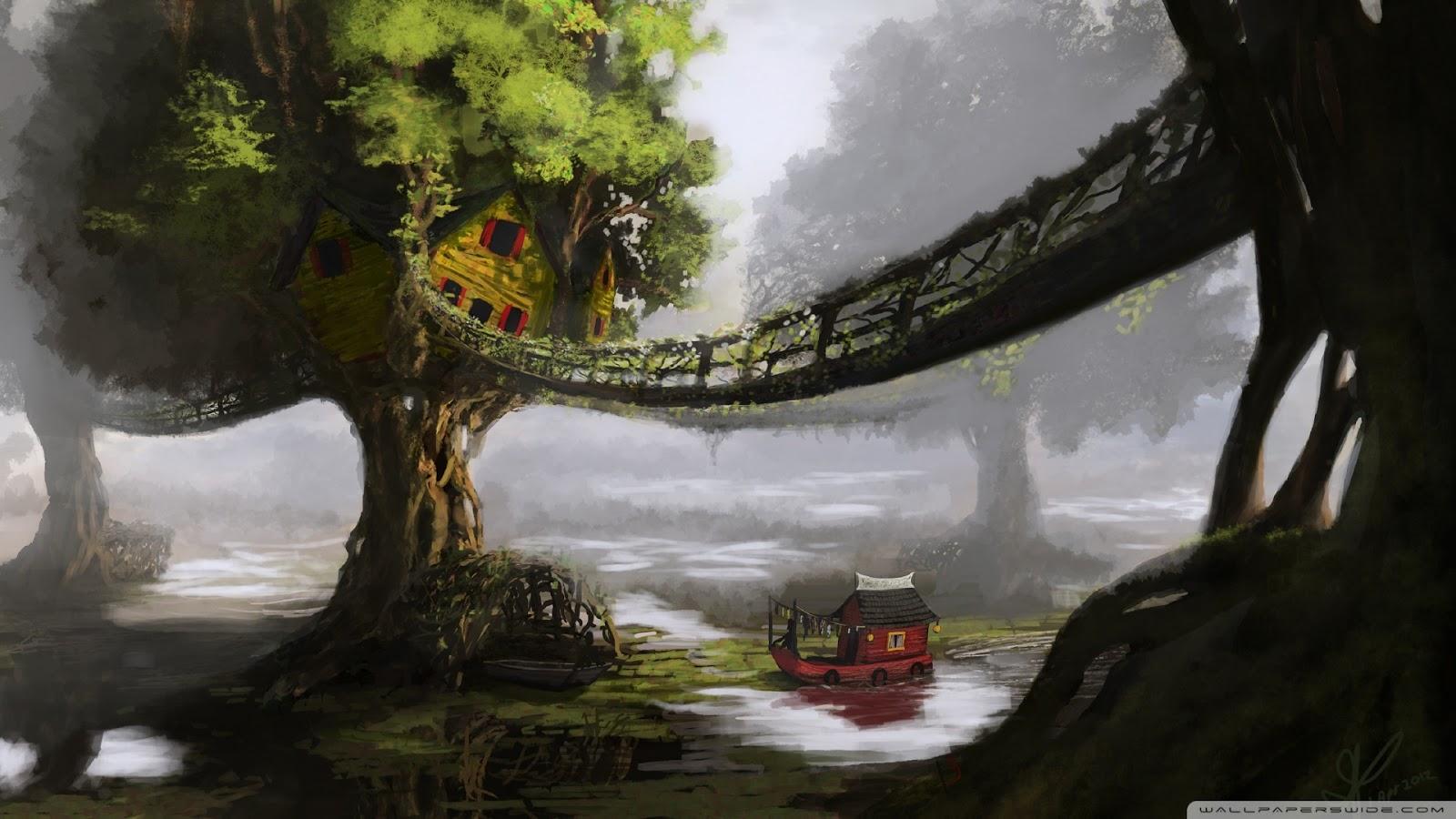 i love treehouses fantasy tree house wallpaper 1920x1080