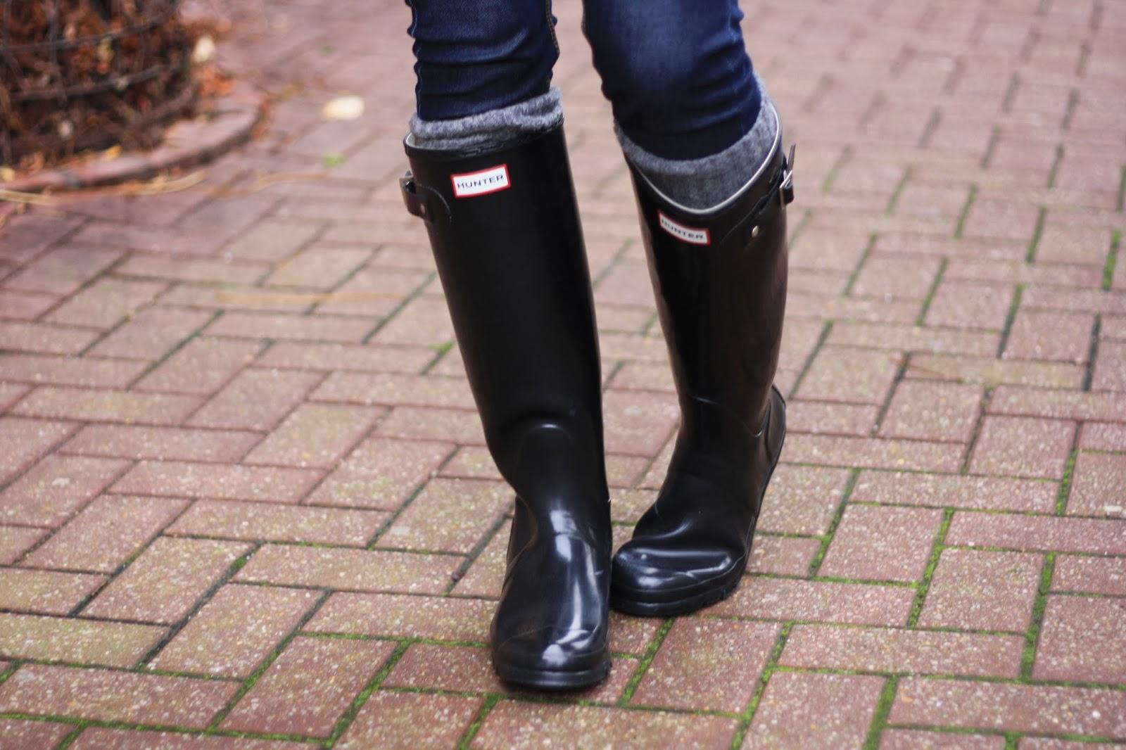 bottes noires Hunter gloss